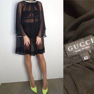 Vintage Gucci silk rhinestone cape sheer dress 6